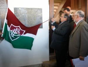 Presidente do Fluminense, Roberto Horcades (à esquerda), durante evento nas Laranjeiras