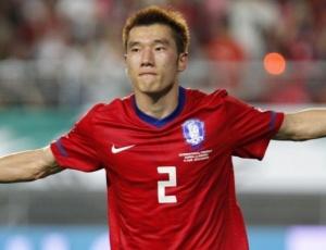 Choi Hyo-Jin comemora gol da vitória por 2 a 1 <br>da Coreia do Sul em amistoso contra a Nigéria