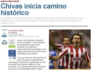 Jornal <i>El Universal</i> destaca momento mais importante da história do Chivas Guadalajara