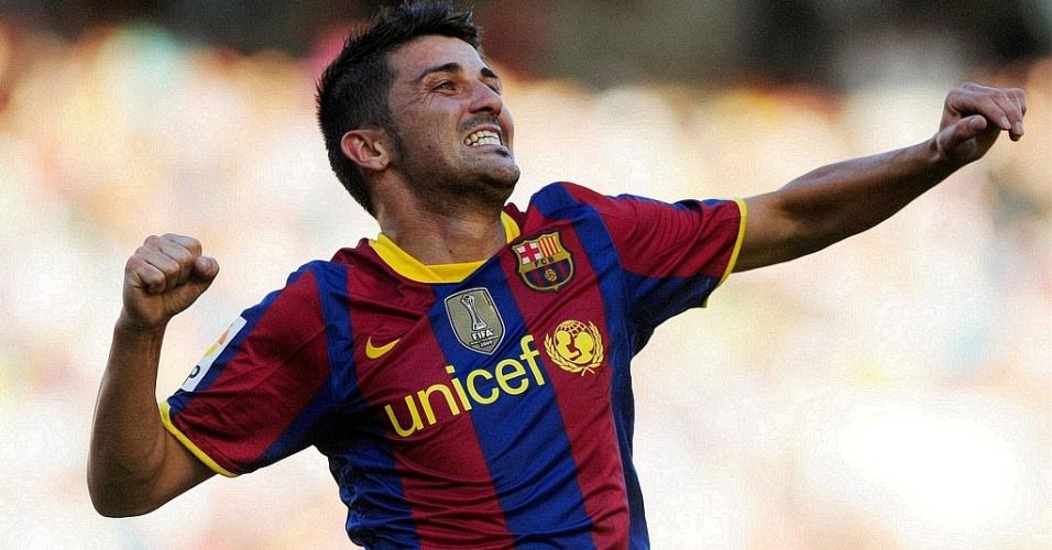 David Villa comemora gol na estreia do Barcelona