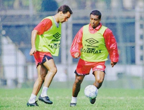 Edmundo e Romário, do Flamengo, treinam em 1995