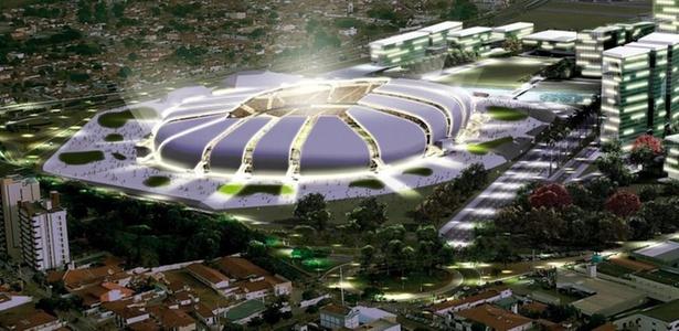 Maquete da Arena das Dunas, a ser erguida em local ainda ocupado por estádio antigo