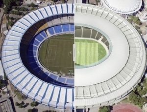 Detalhe do antes e depois do Maracanã; problemas na cobertura atrapalham o andamento das obras