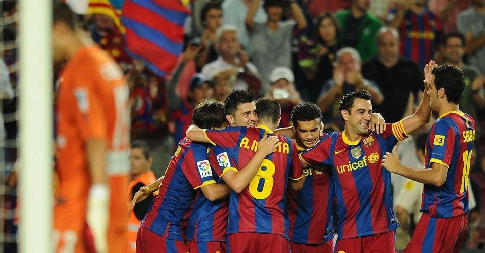 Villa comemora gol do Barcelona na vitória sobre o Gijón