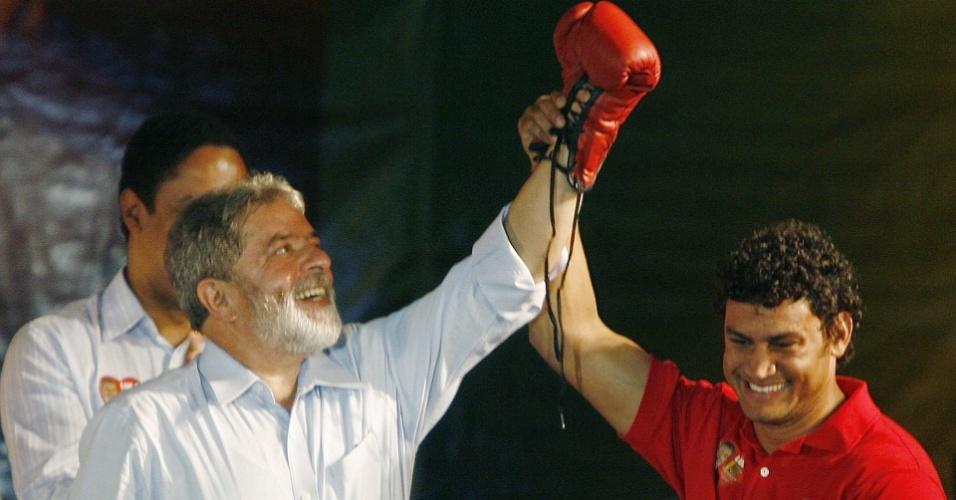 Acelino Freitas, o Popó, em encontro com Lula, em 2006