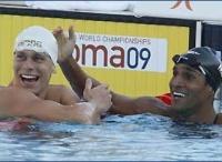 Cesar Cielo ao lado de Nicolas Oliveira